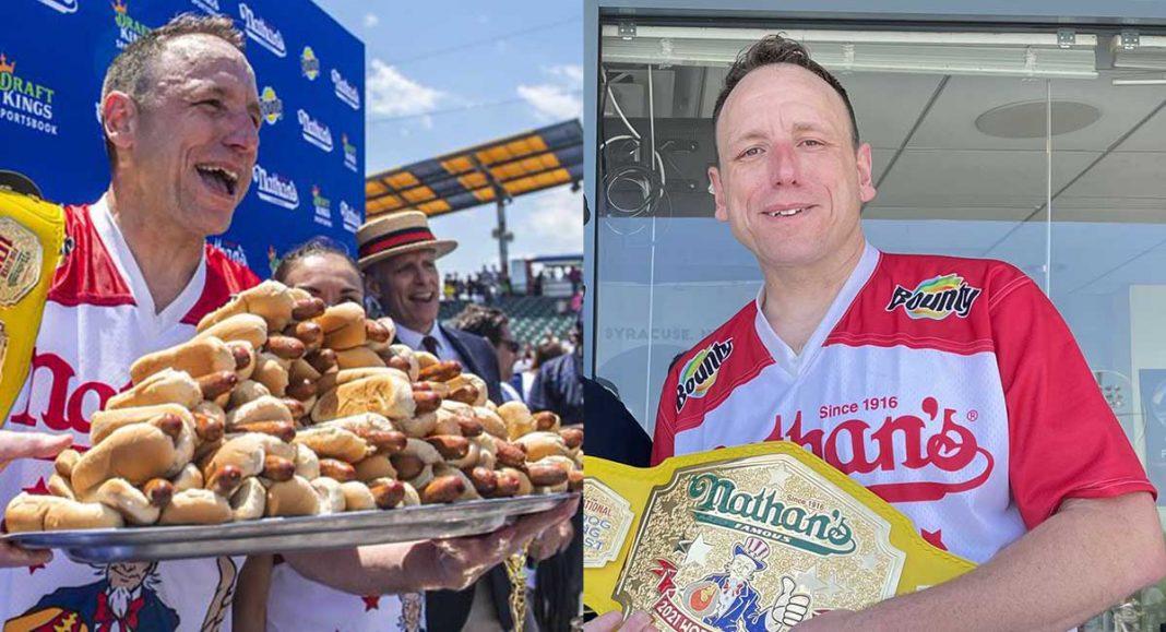 récord mundial de comer hot dogs