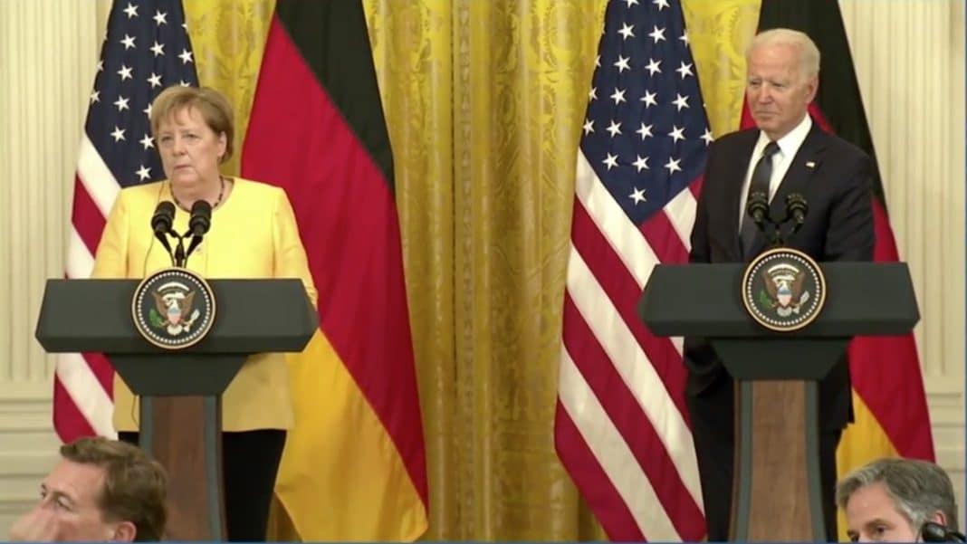 Joe Biden en conferencia de prensa junto a la canciller alemana
