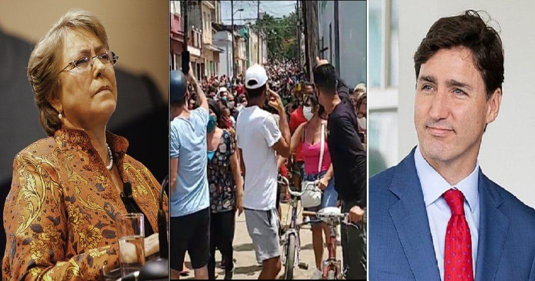 Michelle Bachelet y Justin Trudeau fustigan a Cuba
