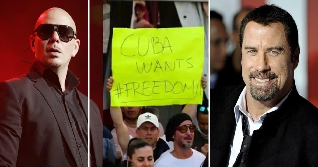 Pitbull y John Travolta piden ayuda global a grandes empresarios