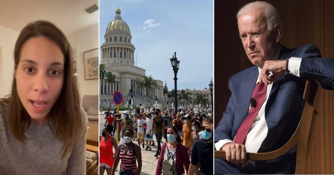 Esta cubana le ratifica a Joe Biden que los cubanos quieren LIBERTAD