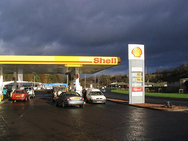 Estación de gasolina en el Reino Unido